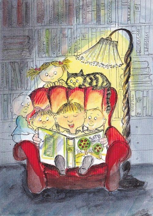 """""""De los diversos instrumentos inventados por el hombre, el más asombroso es el libro; todos los demás son extensiones de su cuerpo… Sólo el libro es una extensión de la imaginación y la memoria"""". Jorge Luis Borges. Ilustración: Story time / Hora del cuento (ilustración de Virpi Pekkalan)"""