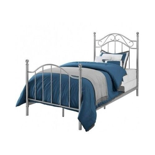 This Twin Size Bed Frame is the perfect piece for any girls or boys room. It will match any other furniture that you already have! ThisSilver metal bed comes complete with a headboard, a footboard, side rails, slats and support legs.