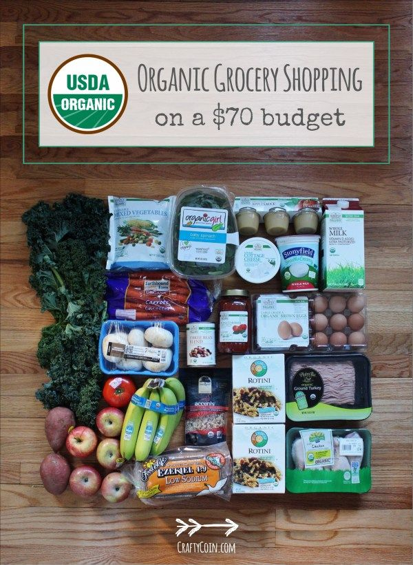 Organic grocery shopping for $70? It can be done! Check out craftycoin.com for meal planning ideas with this organic grocery haul!