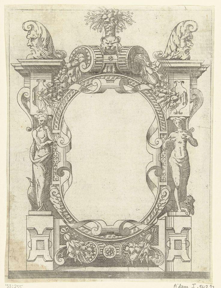 Anonymous | Ovale cartouche in een omlijsting van rolwerk met guirlandes van vruchten, Anonymous, Jacques Androuet, Antonio Fantuzzi, 1520 - 1584 | Links staat een man met een vaas, rechts een vrouw met een leeuw aan haar voeten. Uit serie van 32 bladen. De cartouches zijn deels ontleend aan de prenten van Antonio Fantuzzi naar de decoratie van de Galerie van François 1er door Giovanni Battista Rosso. De serie staat ook bekend onder de titel Petits cartouches de Fontainebleau.