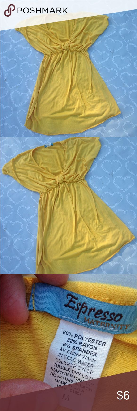 """Women's maternity shirt size medium Brand- Expresso Maternity--Women's yellow shirt size medium. GUC- it's so hard to find normal clothes and dress """"cute"""" while pregnant- I loved this shirt because it looks and fits like normal clothes but allow room for that baby bump 😘 Expresso Maternity  Tops"""