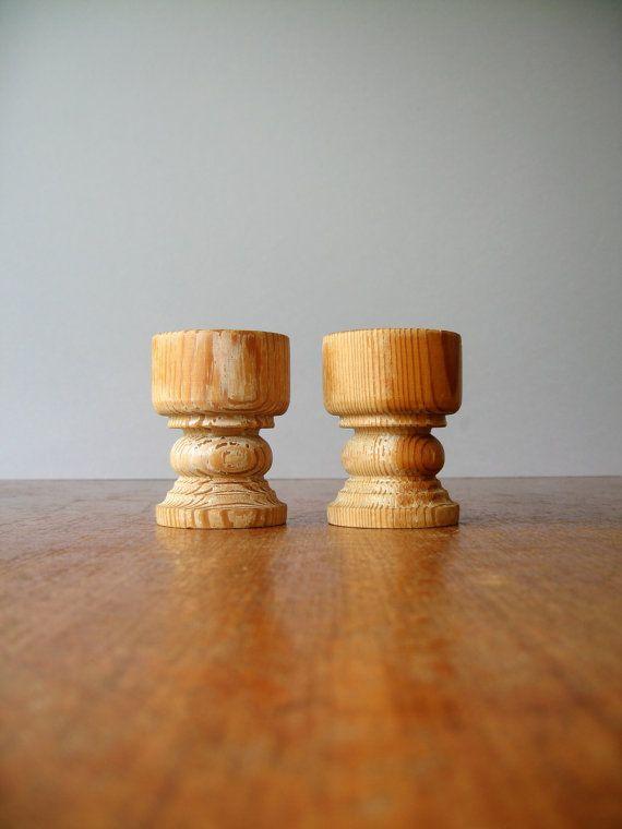 Pair Vintage Modern Egg Cups  Stig Johnsson Blonde Wood by luola