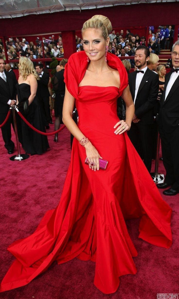 Heidi Klum Red Evening Dress Oscar Academy Awards Prom