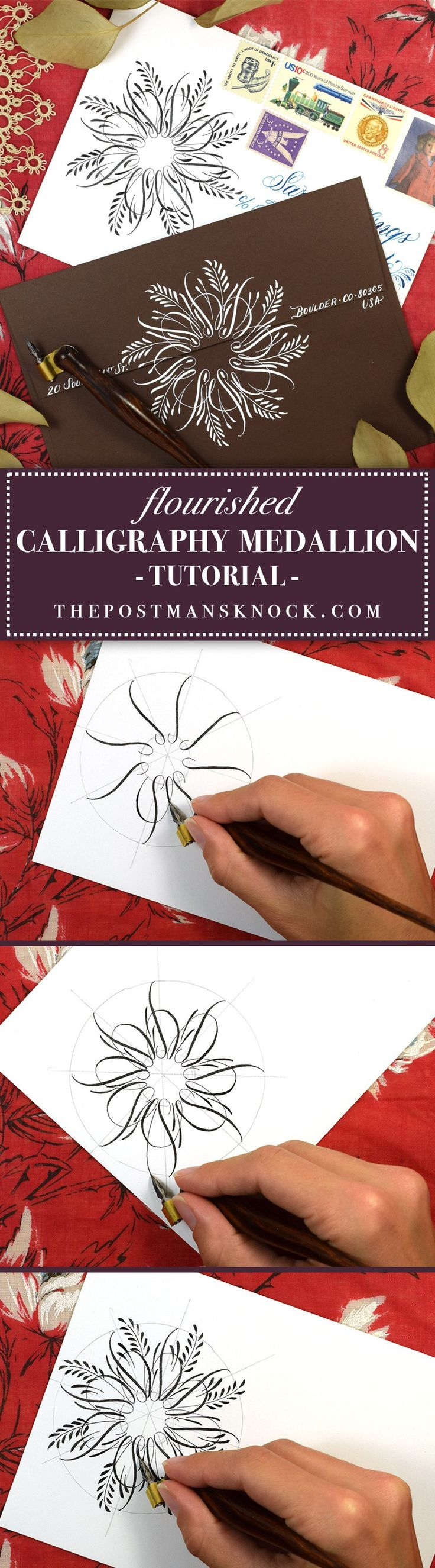 Flourished Calligraphy Medallion Tutorial // The Postman's Knock