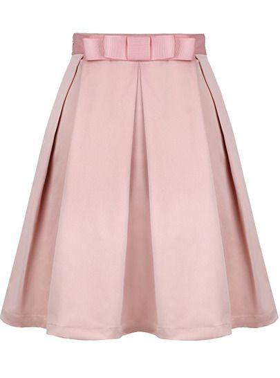 bow skirt pastel pink Sheinside