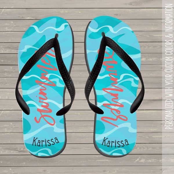 Swimmers Personalized Flip Flops Summer Flip Flops Womens Ffsn ($20) ❤ liked on Polyvore featuring shoes, sandals, flip flops, grey, unisex adult shoes, summer sandals, grey flip flops, special occasion sandals, gray sandals and cocktail shoes
