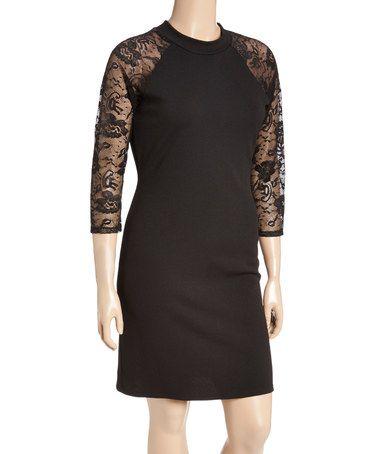 Another great find on #zulily! Black Lace-Sleeve Keyhole Back Sheath Dress - Plus #zulilyfinds