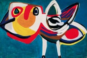 Karel Appel; Oiseau,1951. This can be inspiration for layered paper collage with open and closed circles.