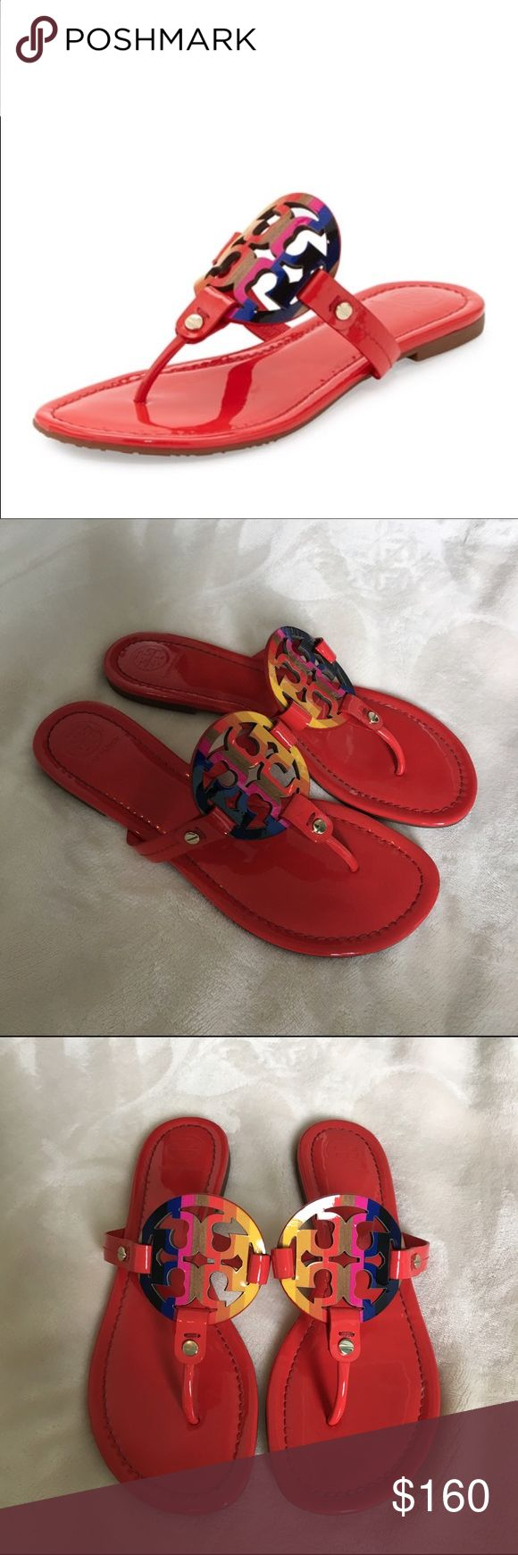 Tory Burch 'miller' flip flop Red patent leather with rainbow logo Tory Burch Miller Flip flop. WOMENS size 8. Worn 1 time AMAZING CONDITION! No flaws besides very extremely small scuff at the very top of the shoe, isn't noticeable at all especially when wearing! Super cute, sold out on Tory Burch website!!!!! Tory Burch Shoes Sandals