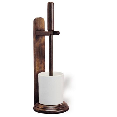 Toilet Brush, StilHaus Ceramic Toilet Brush Holder With Solid Wood Base
