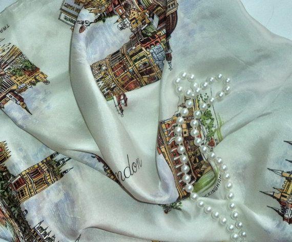 60s London Souvenir Scarf Royal Sites by MushkaVintage3 on Etsy
