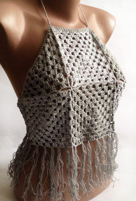 White gray crochet top/ Crochet fringe top/ by ElenaVorobey