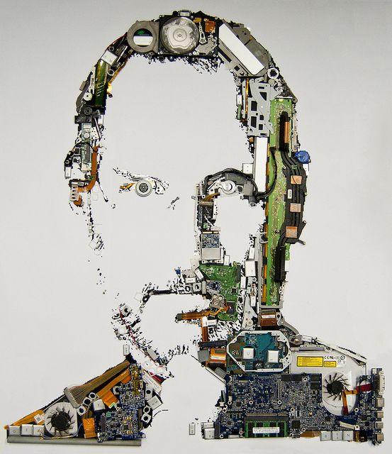 Steve Jobs, built up with the parts of an old MacBook Pro.