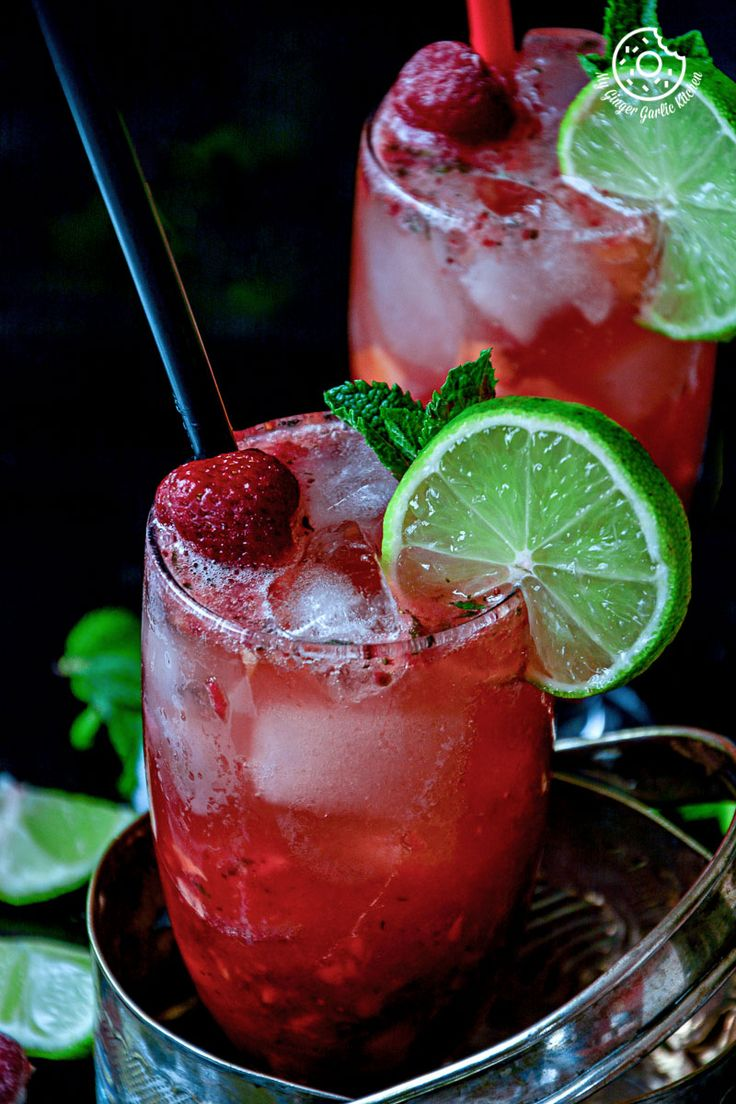 Dark Rum Strawberry Mango Mojito