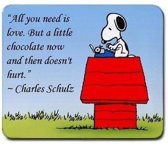 """"""" Tu n'as besoin que d'amour . Oui , mais un petit chocolat de temps en temps ne fait pas de mal ..."""