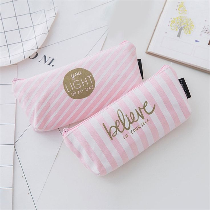 Cute Stripes Dots Students Stationery Pencil Case Makeup Bag Canvas Zipper Pouch - (Vertical Stripes)