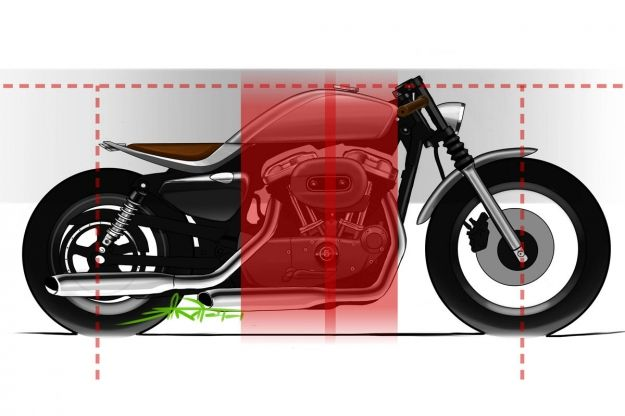 Harley cafe racer design process - Design elements: Visual straight foundation between seat & tank; Softened flowing line and seat crease to catch highlights reinforcing the cafe race foundation structure. Together elements were crafted to yield a 'premium' aesthetic.