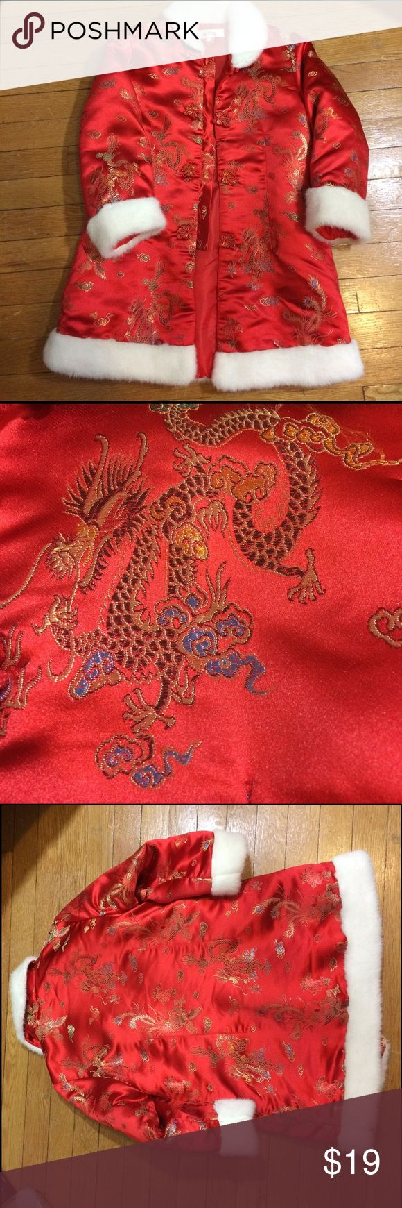 "Girls Red Fur Trim Asian Chinese Dragon Coat 6 7 Girls Red Fur Trim Asian Chinese Dragon Coat 6 7. There is no Size tag.  Measurements are:  Shoulders 14"", Pit to pit 18 3/4"", length 26"" and sleeve 16.5"". Jackets & Coats"