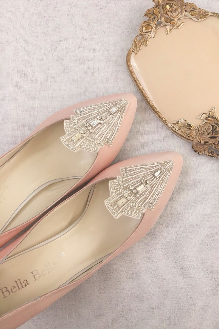 - Clara - Art Deco wedding shoes - Inspired by the glamour of the Great Gatsby era - Hand-embroidered with crystals, glass beads, string beads, and peals in a signature Art Deco pattern - Comfortable