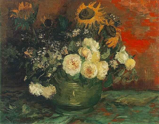Картина Ван Гога Чаша с подсолнечником, розами и другими цветами 1886