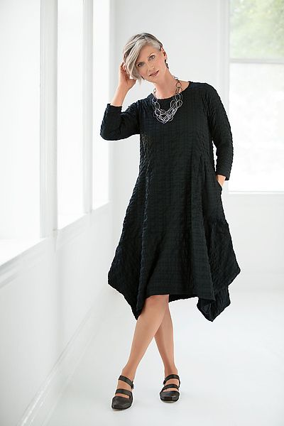 Noir Dress by Mariam Heydari: Woven Dress available at www.artfulhome.com A fabulously puckered yet fluid fabric adds enticing texture to a dress with flouncy tucks and points along its eye-catching, asymmetrical hem.