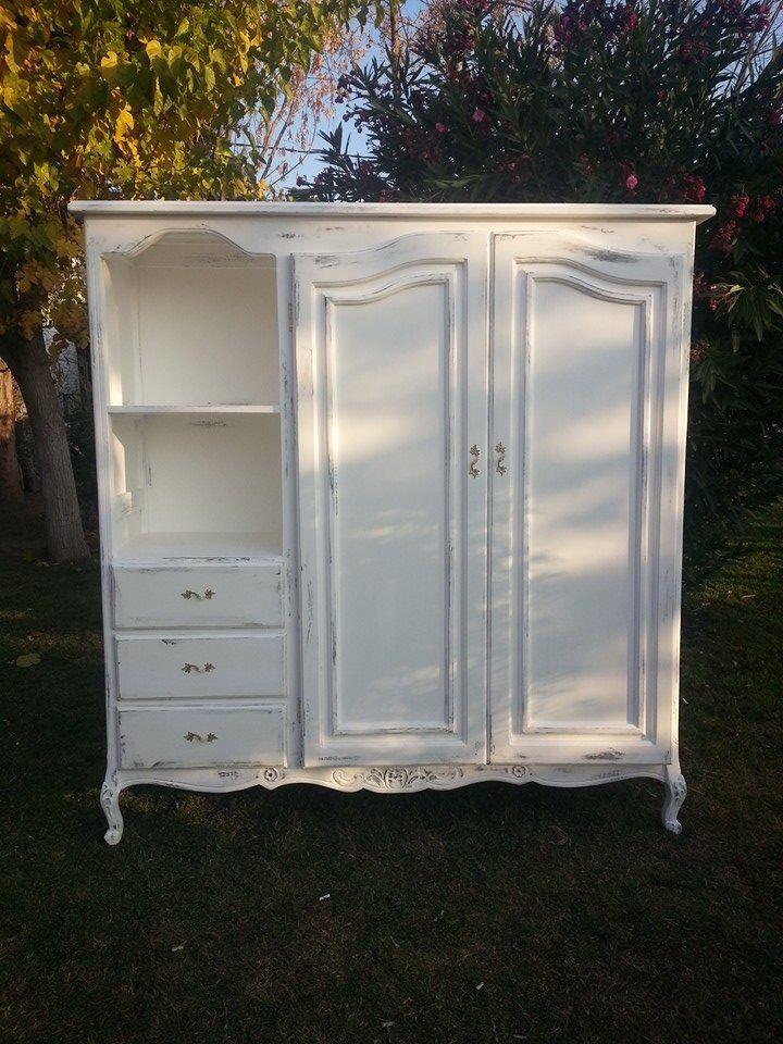 ropero luis xv color blanco con decapado madera muebles