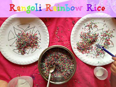 Rainbow rice rangoli