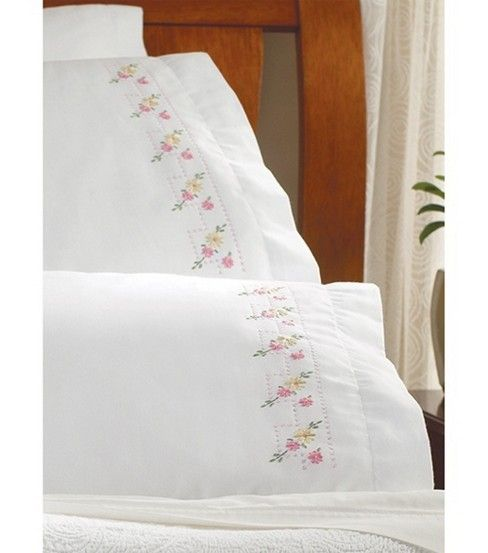 Bucilla Pillowcase Pair Stamped Embroidery 20''X30''-Pretty Posies