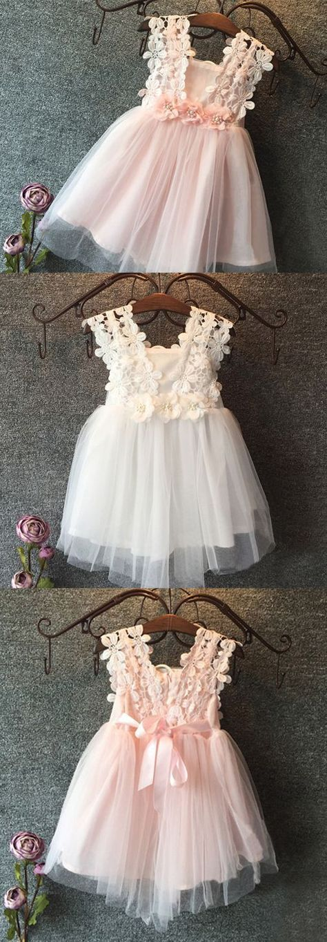 cute a line flower girl dresses, tutu flower girl dresses, pink short flower girl dresses with flowers