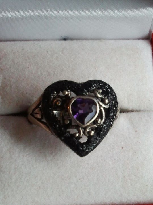 Sterling Silver Coal & Amethyst Heart Ring -  #WV #Coal
