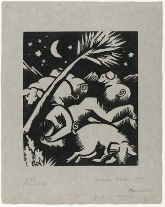 Maria Uhden. Sleeping Swineherd with Pigs (Schlafender Hirt mit Schweinen). 1917