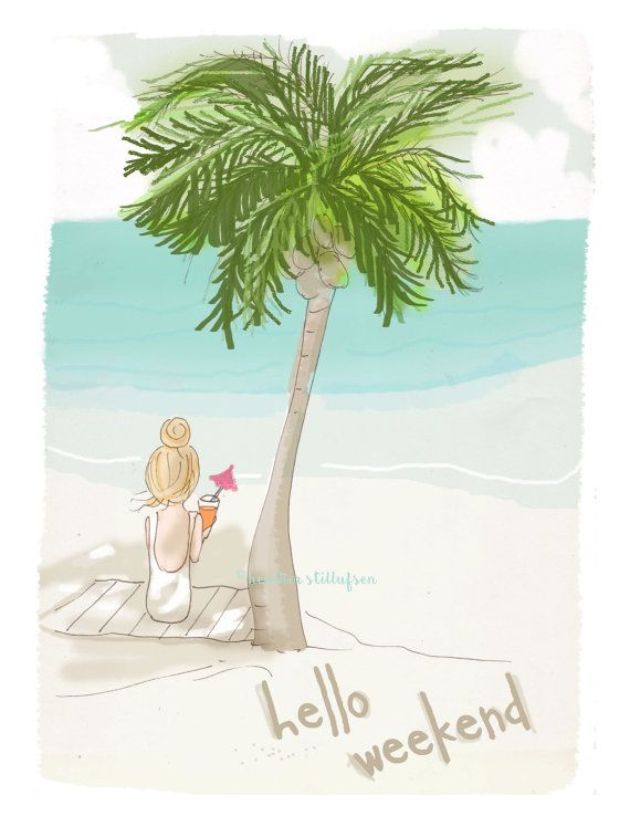 Wall Art for Women Under the Palm Trees by RoseHillDesignStudio