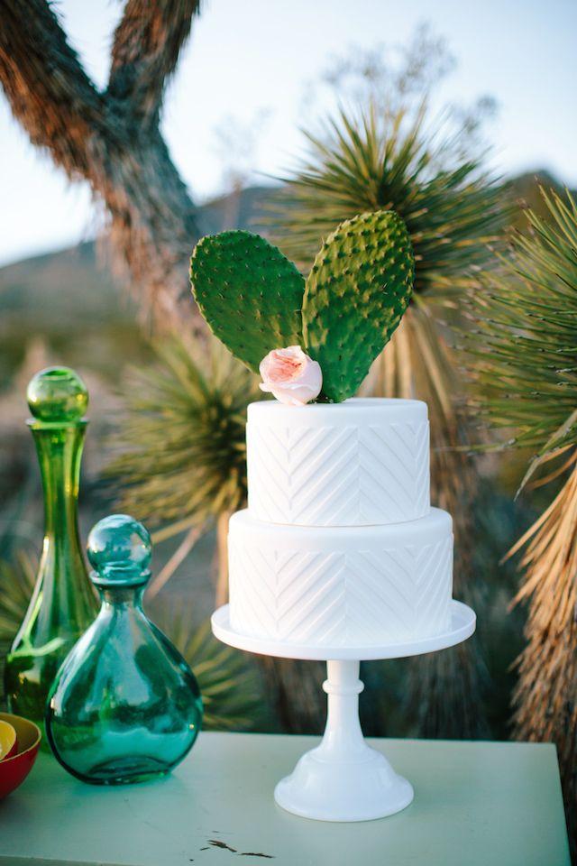 Cactus wedding cake topper | M. Felt Photography | see more on: http://burnettsboards.com/2015/11/mid-century-modern-southwestern-wedding/