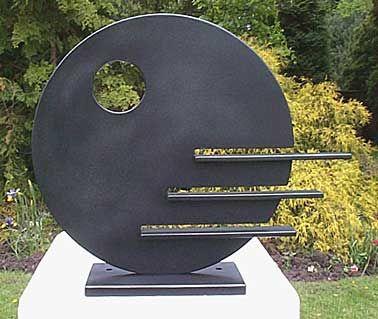 "modern sculpture for garden, ""Circle with steps"" , 500mm diameter, fabricated steel, galvanised and painted for weather protection, weight 33kg"