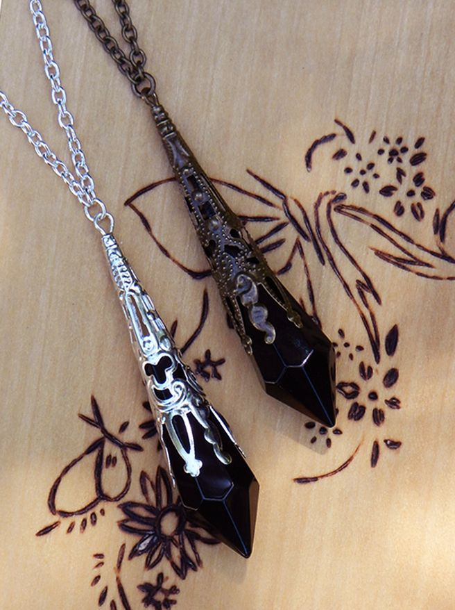 White Magick Alchemy - Witching Hour Silver Age ~ Crystal Magickal Prism Divination Pendulum Necklace ~ Bronze Filigree Pendant 30 inch, $32.00 (http://www.whitemagickalchemy.com/witching-hour-silver-age-crystal-magickal-prism-divination-pendulum-necklace-bronze-filigree-pendant-30-inch/)