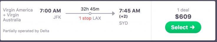 New York to Sydney Flight