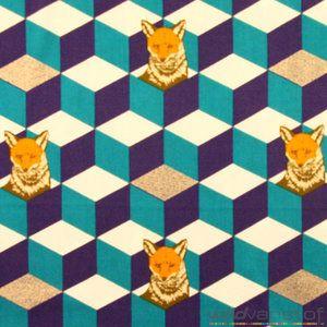 Vos op blauw paarse kubus - Wild van Stof | Stoffenwebshop | Grootste aanbod in leuke stoffen online!