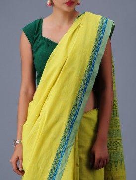 Yellow-Turquoise Andhra Cotton Saree
