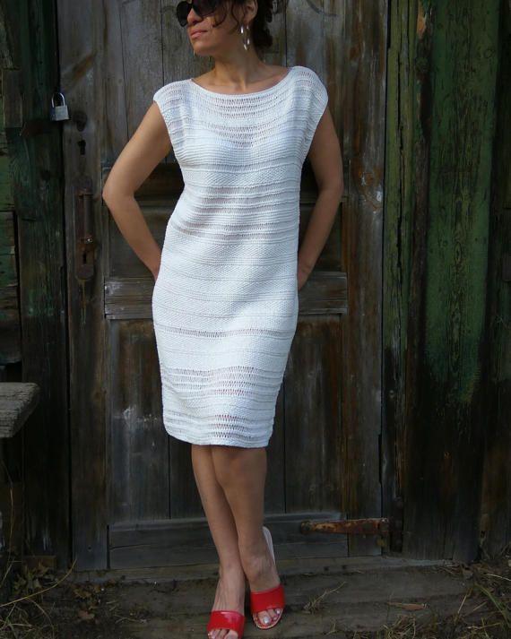 White Knit Dress Handknitted Dress For Wedding Quest Cotton
