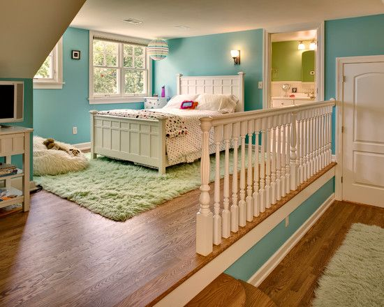 Love the idea of two rooms in one with a level change. Maybe for twins?