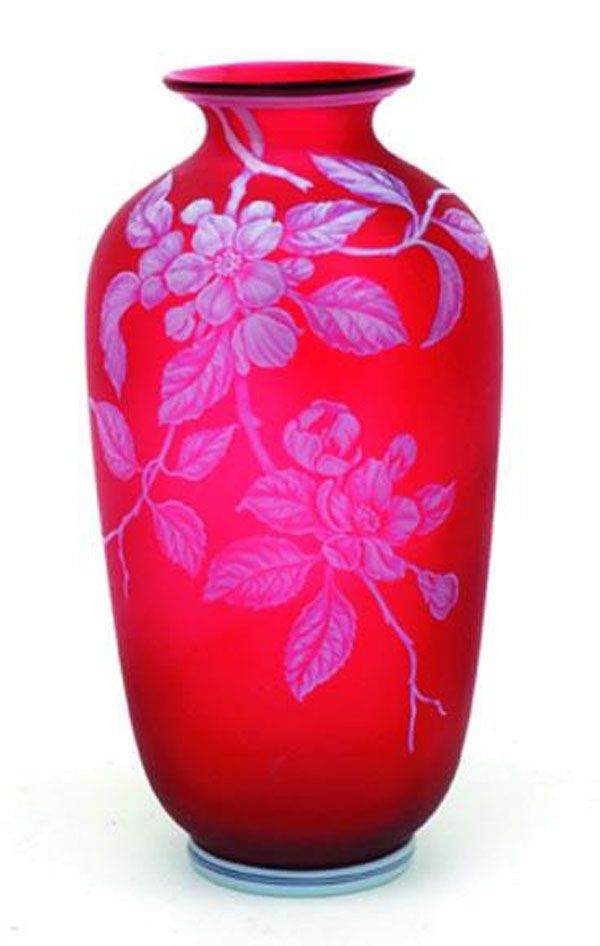Victorian Thomas Webb & Sons Cameo Glass Vase, Of Ovoid Shape, Cameo Cut With Leafing Aneomone, Overlaid In White, A Red Ground And A Maker's Mark To The Base