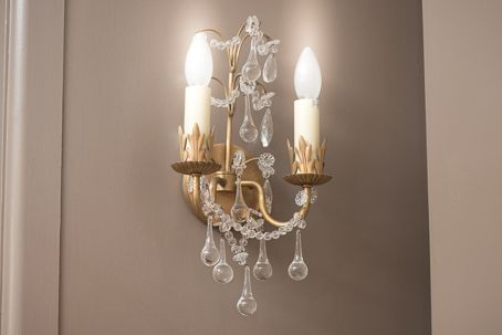 C10:LB12881VBN Hannah Two-Light Sconce in Antique Burnished Brass with Crystal trim Dimensions: 230 x 135 x 385mm High