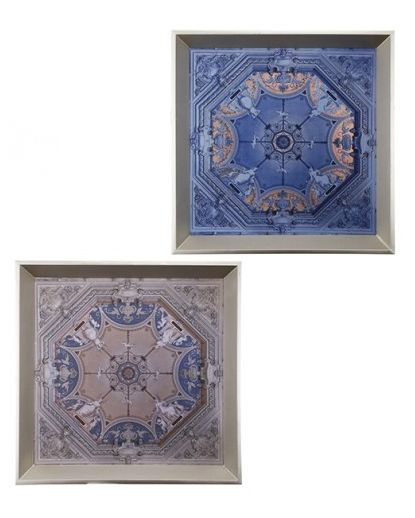 Close up - our set of two designer wooden trays in gorgeous blue patterns.