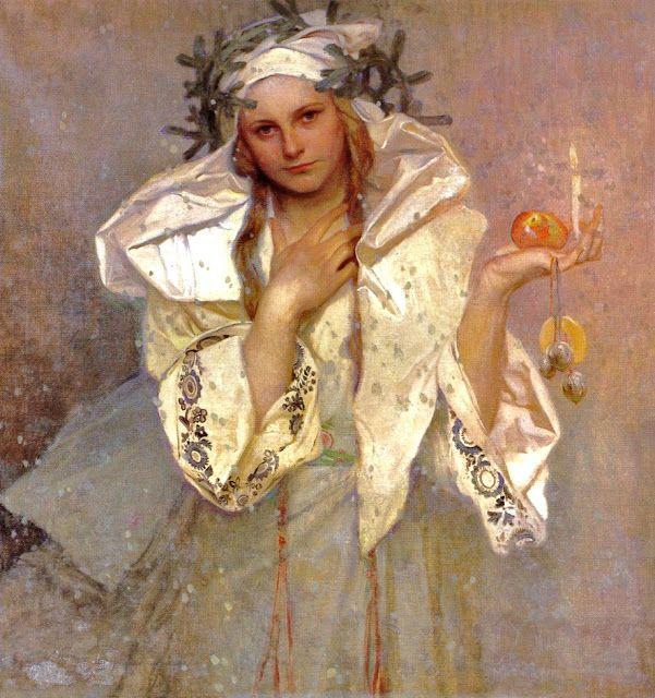 Noel En Amerique Alphonse Mucha (1860 1939), Noël en Amérique   1906.   Alphonse