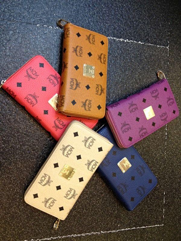 Purple mcm wallet