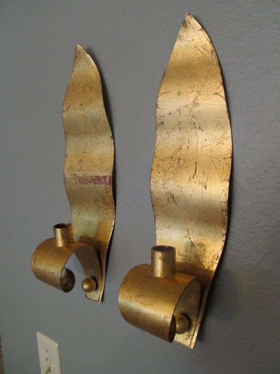 RARE Gold Leaf Ystad Metall Wall Sconces Candle Holders Designed by Walter Andersson Metal ...