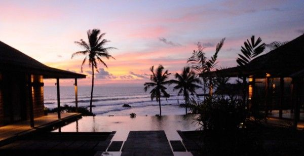 sunset view by the villa, luxury Bali sunset beach