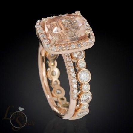 Rose Gold Morganite Engagement Ring and Wedding Set with Bezel Set Diamond Eternity Wedding Band - LS3353
