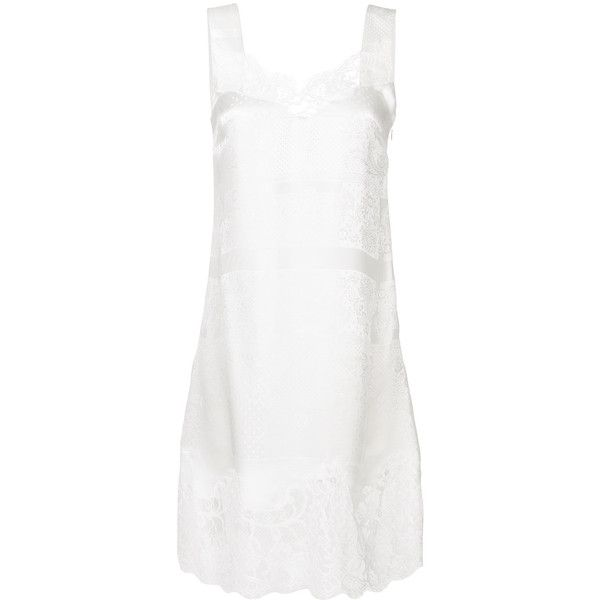 Givenchy lace slip dress ($2,375) ❤ liked on Polyvore featuring dresses, white, knee length shift dress, sleeveless shift dresses, lace slip dresses, white shift dresses and white knee length dress
