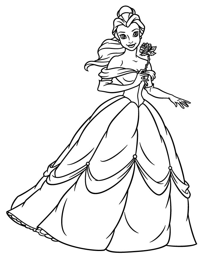 Princess Belle Holding Flower Coloring Page